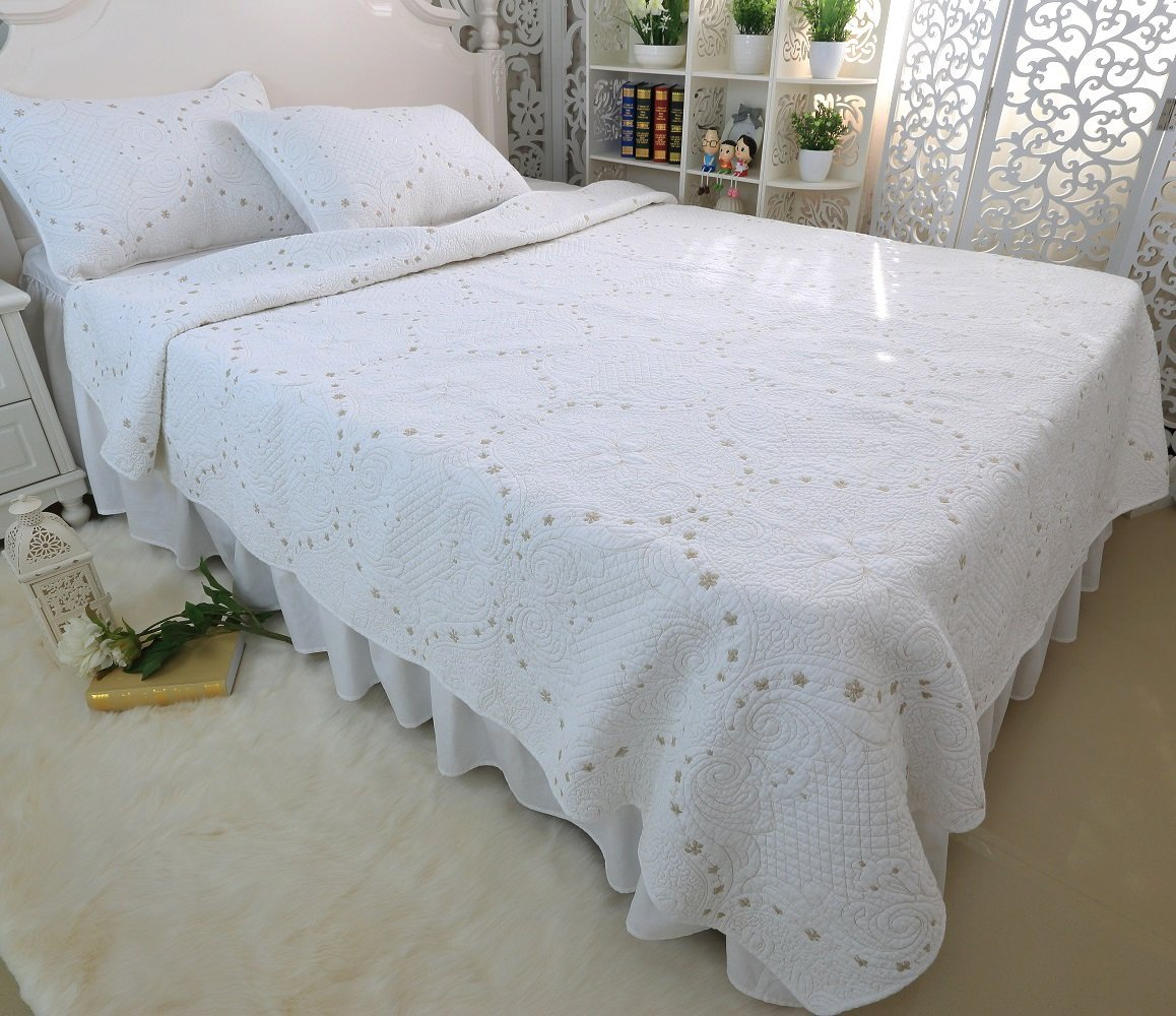 Brandream White Vintage Comforter Set Luxury Bed Quilt Set King Size Review Discount Bedding